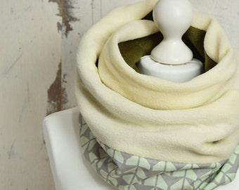 Infinity Scarf, Girlfriend Gift, Gift for Her, Beige and Green Snood, Double Loop, Winter Scarf, Fleece and Cotton Scarf