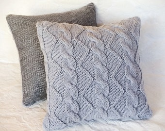 Cable Knit Decorative Accent Zippered Pillow Light Gray