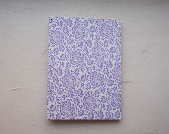 Purple Floral Handmade Journal, Diary and Notebook with Coptic Binding