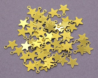 50 Raw Brass Star Charms | Star Pendant, Gold Star Pendant, Star Jewelry, Sky Charms, Raw Brass Star, Small Star Charms, Small Star