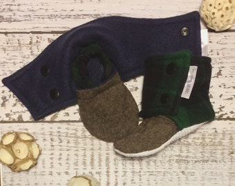 Plaid Baby Boots - Flannel Booties - Plaid Boys Shoes - Outdoor Baby Shoes - Flannel Boots - Baby Boots - Unique Baby Gift