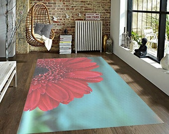 Flower Decorative Area Rug Red And Teal Floral Floor Covering Gerber Daisy