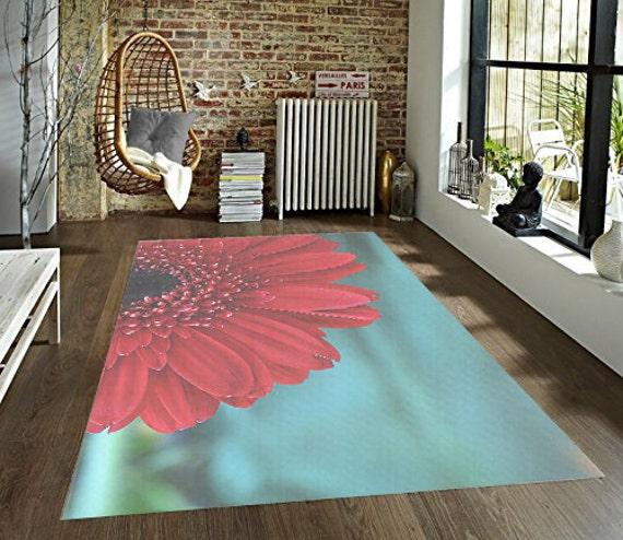 Teal Floral Area Rug: Flower Decorative Area Rug Red And Teal Rug Floral Floor