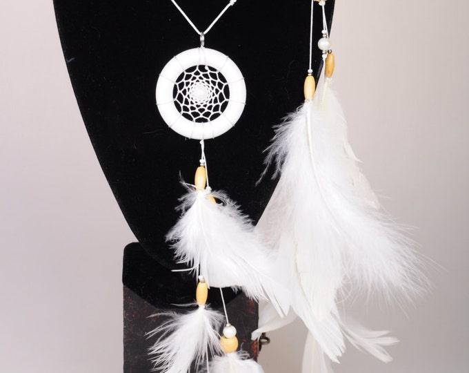White hair clips pendants handmade exclusive Dreamcatcher hair clips pendants white DreamCatcher Dreamcatchers gift Christmas hair clips