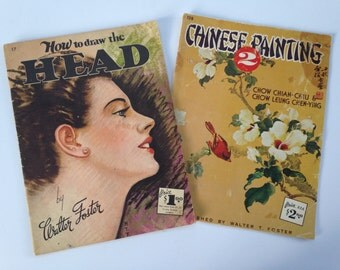 Walter Foster Art Books #17 and #128 / Vintage Oversized Art Books / How to Draw the Head / Chinese Painting 2