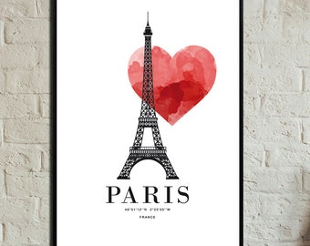 Love Paris Poster. Instant Download. Wall art. Abstract art. Print art. Modern art. Typography Poster. Digital art.