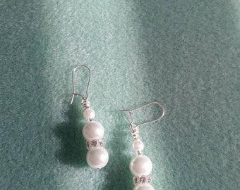 White glass pearl and Swarovski rhinestone earrings