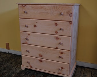 Contemporary 5 Drawer Finished/Unfinished Bedroom Clothing Dresser