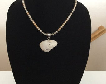 Wire Wrapped Biwa Pearl Pendant Necklace with Fresh Water Pearl Beads