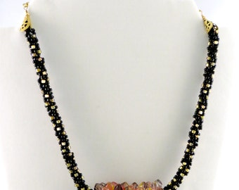 Kumohimo Black & Gold Tones Necklace