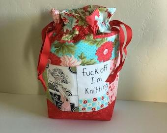 F off I'm knitting drawstring project bag