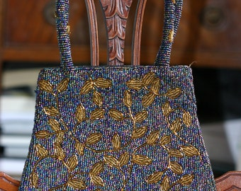 Beaded evening bag - opalescent beads with metallic vine leaf motif