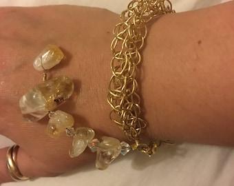 Citrine Stone and Swarovski crystals in gold wire