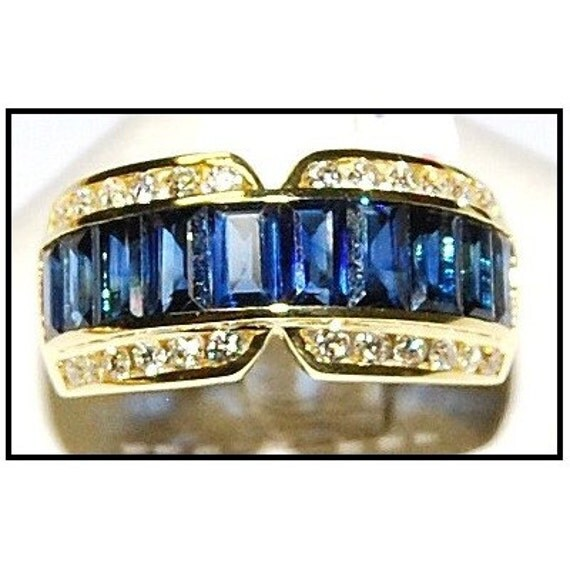 Diamond for men blue sapphire eternity ring 18k yellow gold for Sapphire studios jewelry reviews