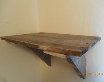 Rustic wooden shelf.