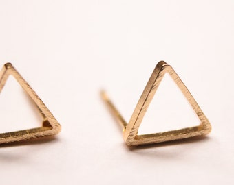 Triangle Earrings - Geometric Stud Earrings -  Gold Plated - Minimalist  Jewellery - Small Triangular- Simple - Small Studs - Gold Studs