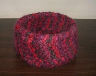 Felt basket - basket - shell - storage - crochet - punnets felted - 11.5 cm, red,