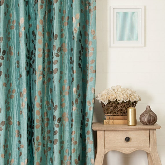 Turquoise And Brown Floral Custom Curtains: Fully By