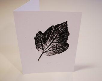 Leaf Print Handmade Card (Black)