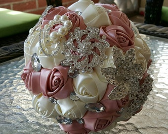 Ivory & Pink Wedding Brooch Bouquet | Bridal Bouquet - Ribbons, Sequins, Brooches, Pearls