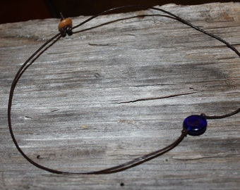 Brown leather Choker with blue glass bead