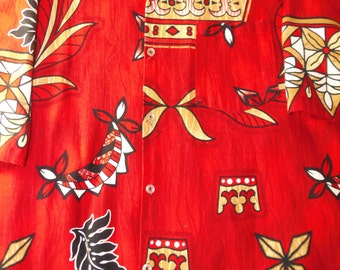Vintage hawaiian shirt real vintage hawaiian shirts XL adult vintage shirts red colored very nice!!!