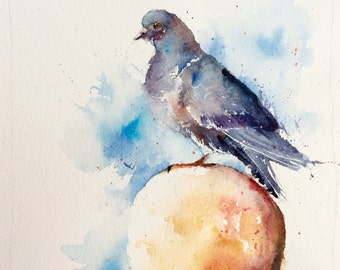 "Original Watercolour - Delivery free ""Pigeon on the lamppost"" (yellow feather blue city bird)"