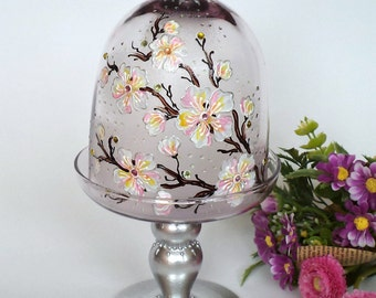 Glass Cupcake Stand, Mini Cake Stand, Mini Cake Pedestal, Glass Dessert Stand, Sakura Glass Stand, Cherry Blossom Cake Pedestal