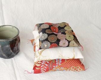 silk,cushion,small,kyoto,kimono,japanese,black,white,red