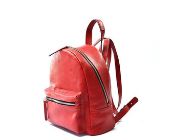 Red Leather Backpack Purse Backpacker Sa