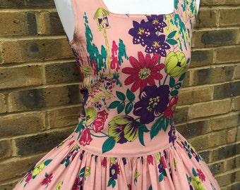 Vintage 1940s cotton floral print dress