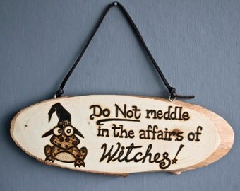 Witch Hanging Plaque Pagan Sign Gift For Pagans Hand Burned Pyrography Plaque Frog Gift