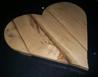 oak heart shaped wall art/stand/display board