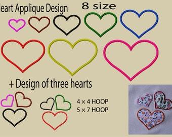 Machine embroidery designs. Heart Applique Design.  Embroidery heart. Embroidery Frame. Instant Download.