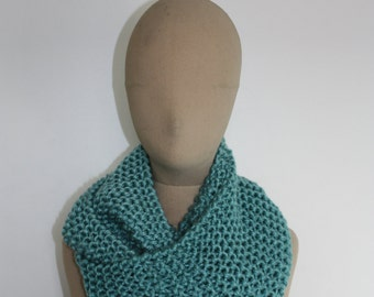 Scarf, snood, blue truquoise unisex knit