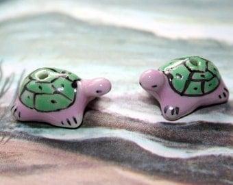 Pink & Green Turtles - Ceramic Beads (4)