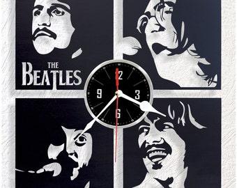 Wooden wall clock Beatles