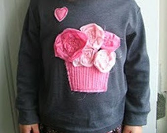 DIY Cupcakes and Roses Valentine Tee-Pattern Girls