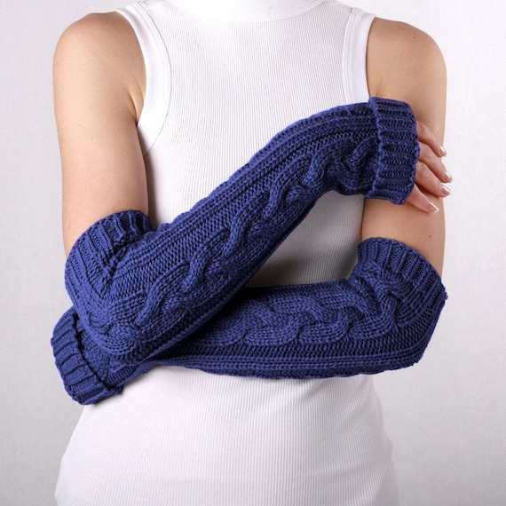 Long arm warmers Blue Fingerless Gloves Womens Arm Warmers with braids, Winter Arm Warmers, Blue Gloves, Fingerless Gloves, Blue mittens