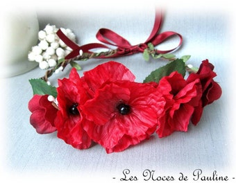 Crown of flowers red and white Fiona poppy wedding