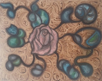 Tangled Rose- Original mixed media, acrylic and pastel painting on canvas