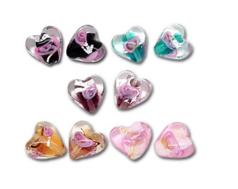 10 pearls glass Murano hearts 12 mm x 12 mm