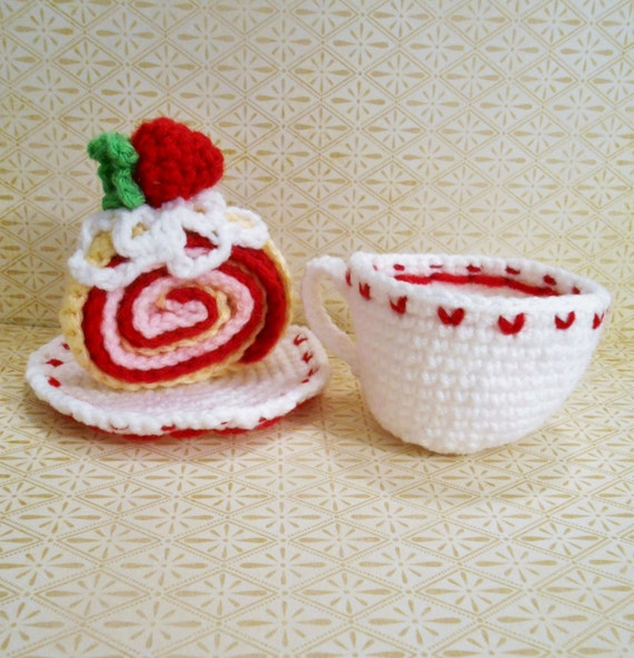 Handmade Crochet Tea And Strawberry Shortcake Cake Set For