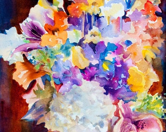 Watercolor Painting, Giclee Prints, Flowers, Bold Paintings, Color, Wall Art, Vertical Paintings, Prints from Originals, Free Shipping