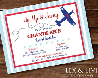 Airplane Birthday Invitation - Airplane Party Invitation - Plane Birthday - Airplane Birthday - Up Up and Away - Red and Blue