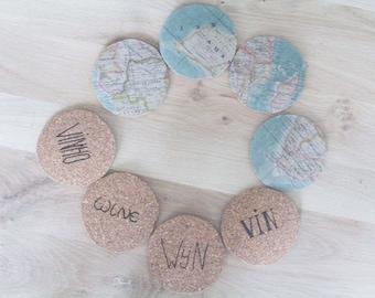 Cork coasters wine and world map