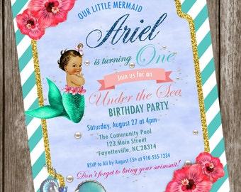 Mermaid Under the Sea Birthday Printable Invitation