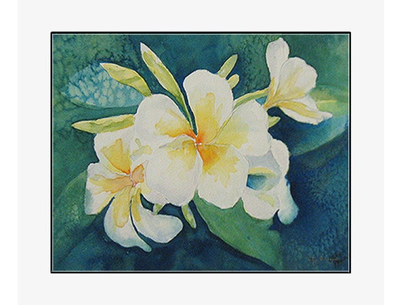 """Green Plumeria  giclee print of an original watercolor painting on 100% cotton rag, natural white, 24"""" x 20"""" matted and backed"""