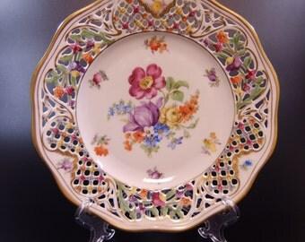 "Schumann Bavaria US Zone Germany Château Dresden Flowers Reticulated Desert / Pie Plate, Scalloped Edge Pierced w Gold Trim 7 1/2"" Diameter"