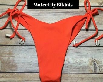 Seashell Accent Tie Side Cheeky Bikini Bottoms